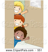 Pal Clipart of a Group of Three Kids Waving Around a Classroom Door by BNP Design Studio