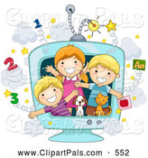 Pal Clipart of a Group of Three School Kids and Animals in an Educational TV by BNP Design Studio