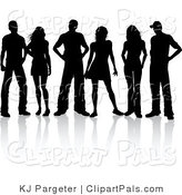 Pal Clipart of a Group of Three Silhouetted Couples Standing Together by KJ Pargeter