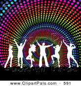 Pal Clipart of a Group of White Silhouetted Dancers over a Rainbow Halftone Spiral Background by KJ Pargeter