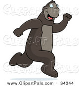 Pal Clipart of a Happy Ape Running by Cory Thoman