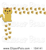 Pal Clipart of a Happy Beige Cat and Paw Print Frame by