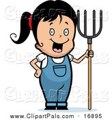 Pal Clipart of a Happy Black Haired Farmer Girl with a Pitchfork by Cory Thoman