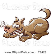 Pal Clipart of a Happy Brown Dog Playing with a Bone in His Mouth by Zooco