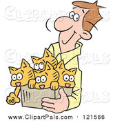 Pal Clipart of a Happy Brunette White Man Carrying Kittens in a Box by Johnny Sajem