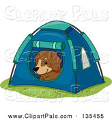 Pal Clipart of a Happy Dog Resting in a Tent by BNP Design Studio
