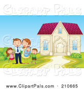 Pal Clipart of a Happy Family Posing Beside Home - Cartoon Style by Graphics RF