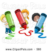 Pal Clipart of a Happy Group of Diverse School Kids Coloring with Crayons by BNP Design Studio
