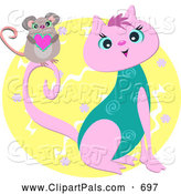 September 9th, 2013: Pal Clipart of a Happy Mouse Holding a Heart on a Pink and Turquoise Cat by Bpearth