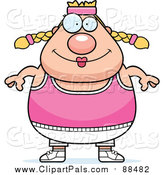 Pal Clipart of a Happy Plump Blond White Gym Woman by Cory Thoman