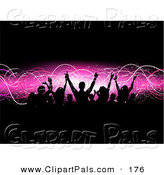 Pal Clipart of a Happy Silhouetted Audience Raising Their Arms over a Pink Wave and Black Background by KJ Pargeter