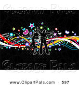 Pal Clipart of a Happy Silhouetted Couple Dancing over Colorful Waves, Stars, Butterflies and Halftone on Black by KJ Pargeter
