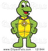 Pal Clipart of a Happy Turtle Character Wearing a Medal by Toons4Biz