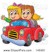 Pal Clipart of a Happy White Boy and Girl Driving in a Red Convertible Car by Visekart