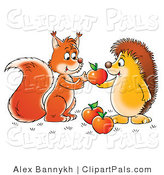 Pal Clipart of a Hedgehog Sharing Apples with a Friendly Squirrel or Fox by Alex Bannykh