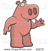 Pal Clipart of a Hippo Standing and Waving by Cory Thoman