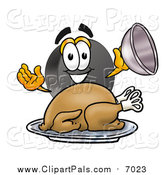 Pal Clipart of a Hockey Puck Serving a Roasted Thanksgiving Turkey on a Platter by Toons4Biz