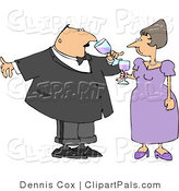 Pal Clipart of a Husband and Wife Toasting Wine at a Party by Djart