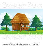 Pal Clipart of a Hut near Trees by Graphics RF