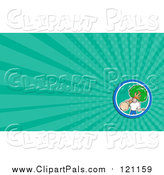 Pal Clipart of a Landscaper Carrying a Tree and Green Rays Background or Business Card Design by Patrimonio