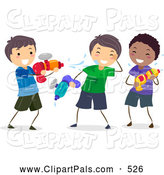 Pal Clipart of a Laughing Stick Boys Playing with Squirt Guns by BNP Design Studio