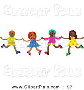 Pal Clipart of a Line of Four Happy Diverse Children Holding Hands and Running by Prawny