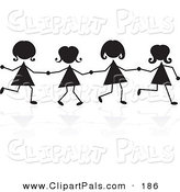 Pal Clipart of a Line of Silhouetted Stick Girls Holding Hands by Prawny