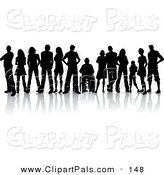 Pal Clipart of a Line of Various Silhouetted Young Adults, One in a Wheelchair by KJ Pargeter