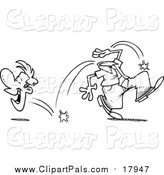 Pal Clipart of a Lineart Businessman Laughing His Head off by Toonaday