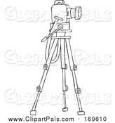 Pal Clipart of a Lineart Camera on a Tripod Stand by Djart