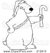 Pal Clipart of a Lineart Christmas Polar Bear Holding a Candy Cane and Wearing a Santa Hat and Bells by Djart
