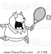 Pal Clipart of a Lineart Chubby Hamster Playing Tennis by Cory Thoman