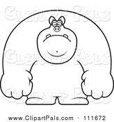 Pal Clipart of a Lineart Depressed Buff Pig by Cory Thoman