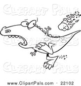 Pal Clipart of a Lineart Dinosaur Running from a Falling Meteor by Toonaday