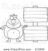 Pal Clipart of a Lineart Hamster with Wood Signs by Cory Thoman