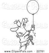Pal Clipart of a Lineart Man Floating Away with a Balloon by Toonaday