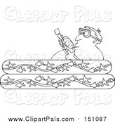 Pal Clipart of a Lineart Man Holding a Squirt Gun in a Kiddie Pool by Djart