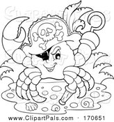 Pal Clipart of a Lineart Pirate Crab Captain with a Hat Peg Leg and Hook Hand by Visekart