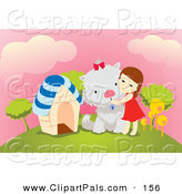 Pal Clipart of a Little Brunette Girl Hugging Her Giant Dog on a Hill by Mayawizard101