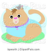 Pal Clipart of a Little Gray Mouse Holding a Flower, Peeking over a Brown Cat's Ear by