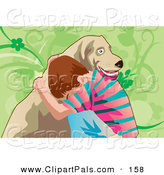 Pal Clipart of a Lonely Brunette Boy Hugging His Dog for Comfort by Mayawizard101
