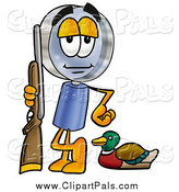 Pal Clipart of a Magnifying Glass Duck Hunting by Toons4Biz