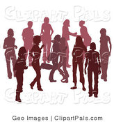 Pal Clipart of a Maroon Group of Silhouetted People Hanging out in a Crowd, Two Friends Hugging by AtStockIllustration