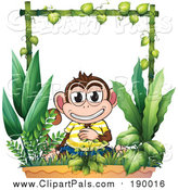 Pal Clipart of a Monkey in a Garden by Graphics RF