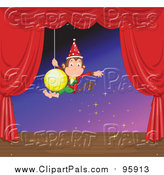 February 5th, 2016: Pal Clipart of a Monkey Swinging on a Christmas Bulb on a Stage by Graphics RF