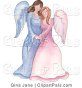 Pal Clipart of a Mother and Daughter or Sister Angels Standing Together on White by