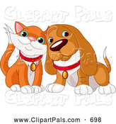 Pal Clipart of a Pair of Animals, a Cute Orange and White Cat and Basset Hound Cuddling by Pushkin