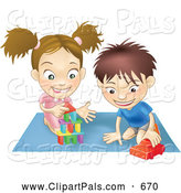 September 13th, 2013: Pal Clipart of a Pair of Children - a White Boy and Girl Playing with Toys on a Floor Together by AtStockIllustration