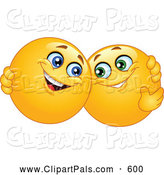 Pal Clipart of a Pair of Friendly Yellow Smiley Face Emoticons Hugging by Yayayoyo