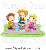 Pal Clipart of a Pair of Girls and a Boy Eating Food at a Picnic by BNP Design Studio